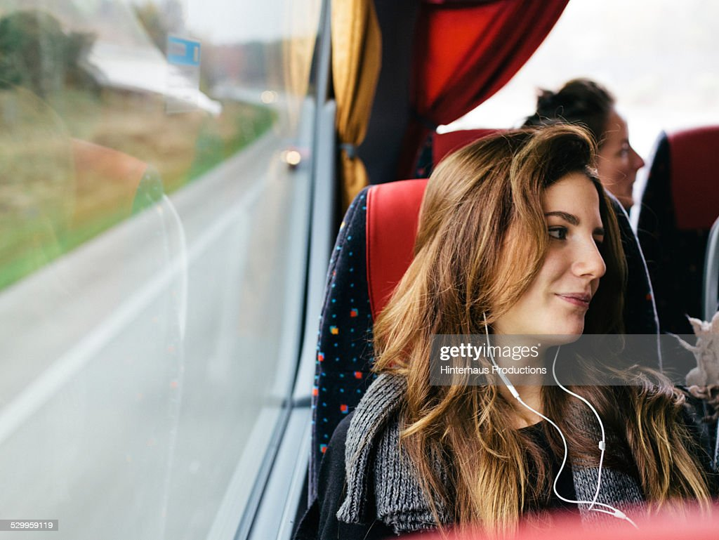 Young Woman Travelling With Bus : Stock Photo