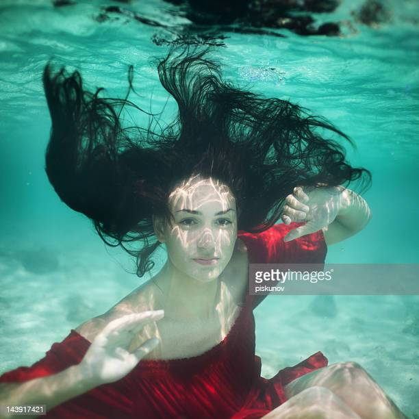 Young woman underwater portrait