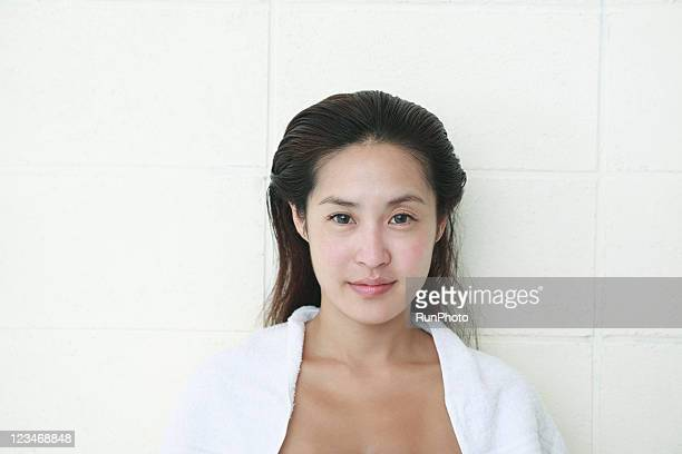 young woman unpainted face,portrait - wet hair stock pictures, royalty-free photos & images