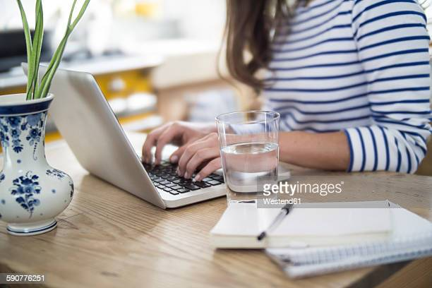 Young woman using laptop, working from home