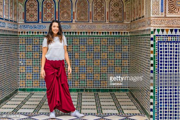Young woman visiting Morocco