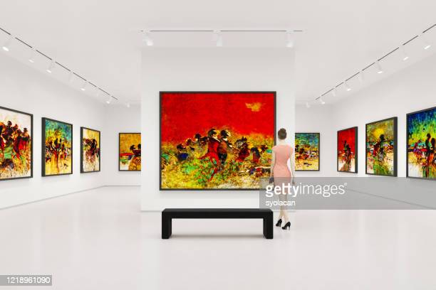 young woman visits art exhibition - museum stock pictures, royalty-free photos & images