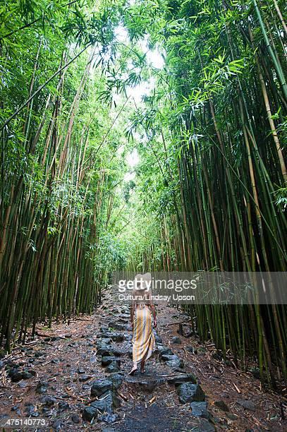 young woman walking in bamboo grove, hana, maui, hawaii - maui - fotografias e filmes do acervo