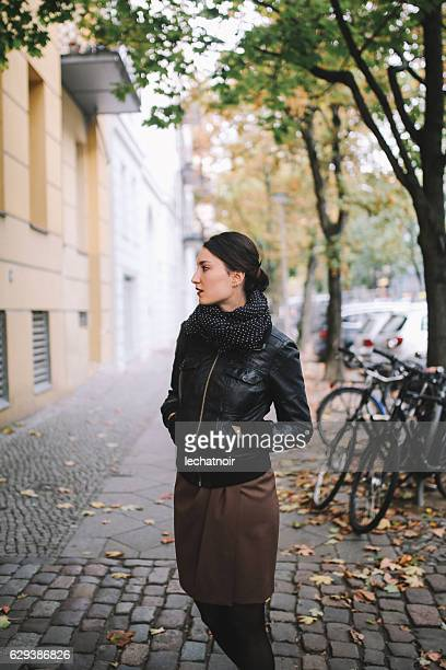 Young woman walking in Berlin Prenzlauer Berg - Mitte