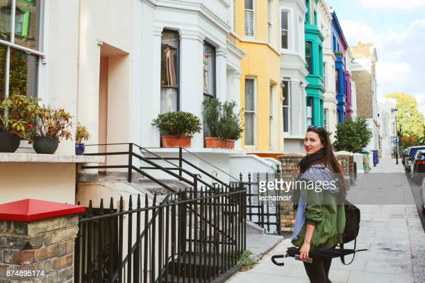 Young woman walking in central London, Notting Hill