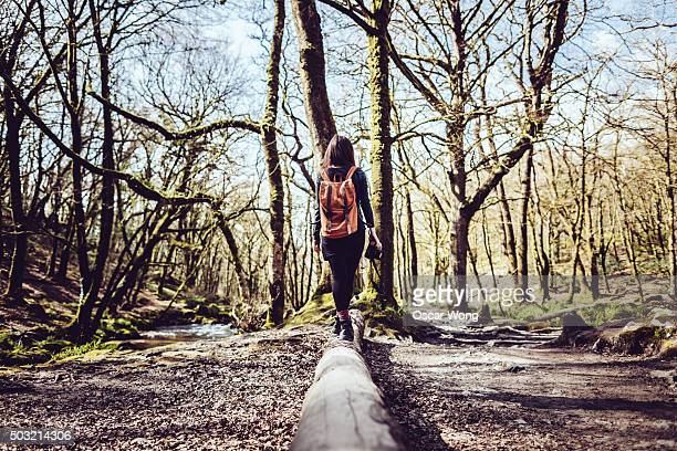 Young woman walking on tree trunk in forest