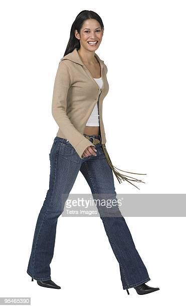 A young woman walking