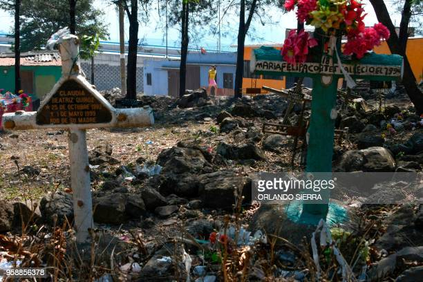 A young woman walks near the Divino Paraiso cemetery close to the poor neighbourhood of Nueva Capital on the outskirts of Tegucigalpa on May 13 2018...