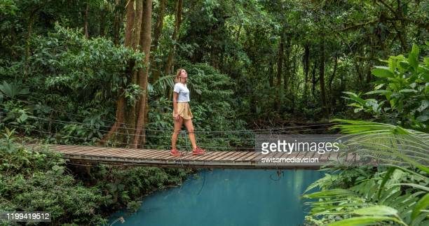 young woman wandering in tropical rainforest walking on bridge over turquoise lagoon - costa rica stock pictures, royalty-free photos & images