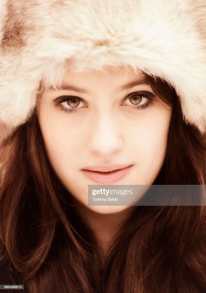 Young Woman Wearing A Fur Hat Portrait Stock Photo Getty