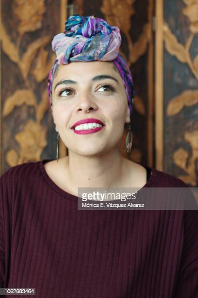 Young woman wearing a head scarf