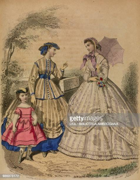 Young woman wearing a Louis XVstyle country dress young woman wearing a white muslin city dress and holding an umbrella fourfive yearold girl wearing...