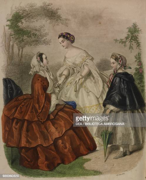 Young woman wearing a taffeta city dress girl wearing a tarlatan ball gown twelve yearold girl wearing a poplin dress and holding a closed umbrella...