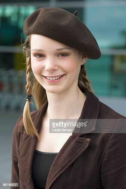 Young woman wearing beret