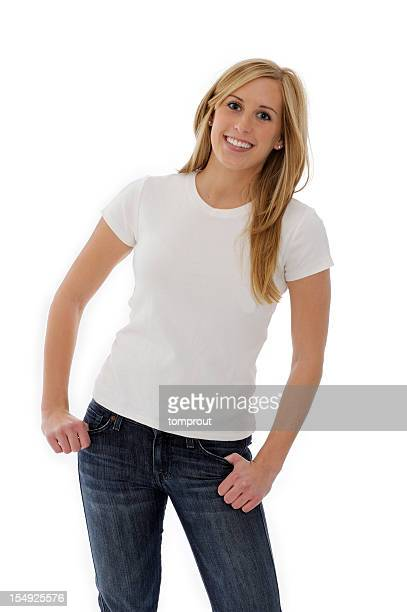 young woman wearing blank tee shirt - short sleeved stock pictures, royalty-free photos & images