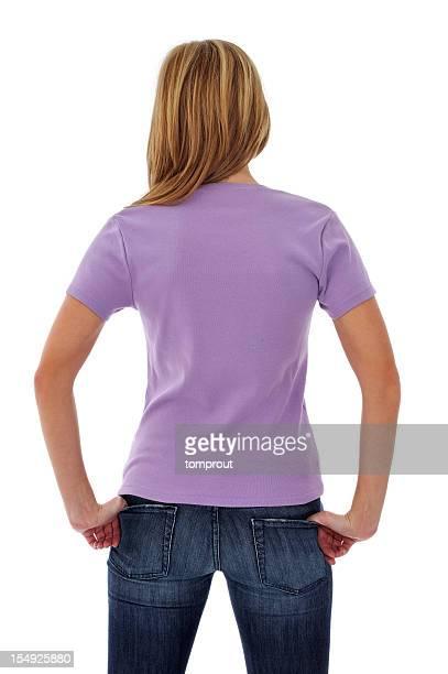 Young Woman Wearing Blank Tee Shirt