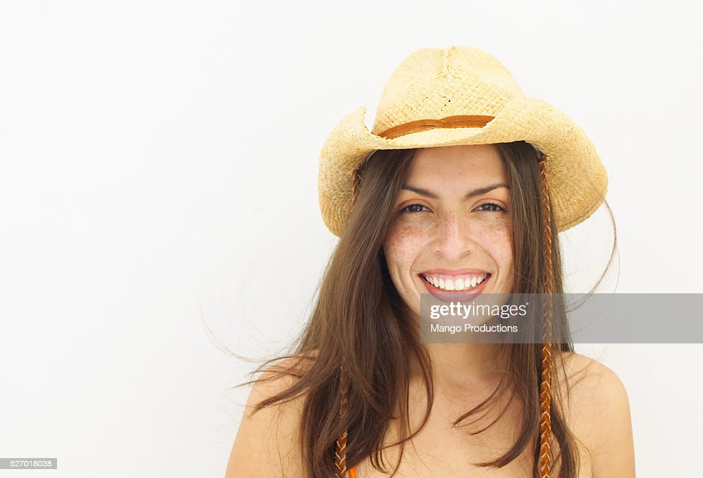 Young Woman Wearing Cowboy Hat   Stock Photo f66e6b58de71
