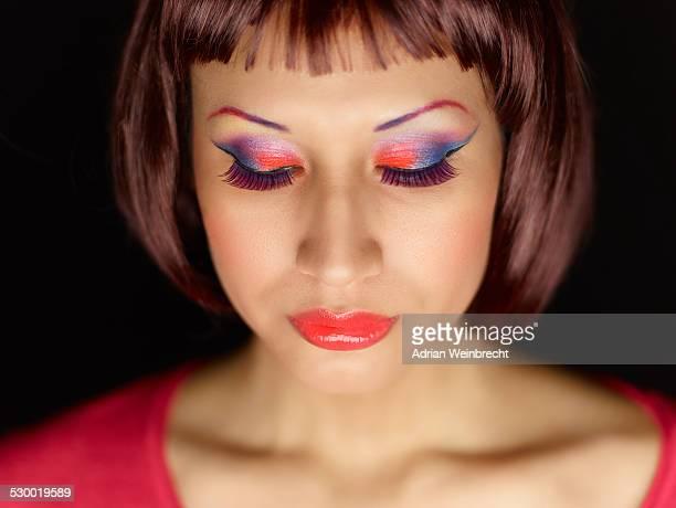 Young woman wearing eye shadow