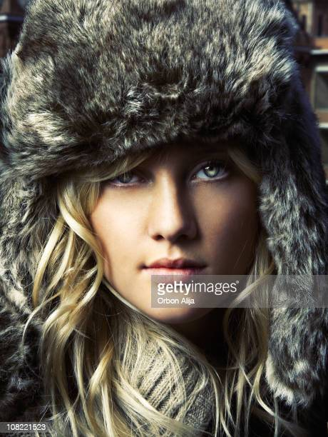Young Woman Wearing Furry Winter Hat