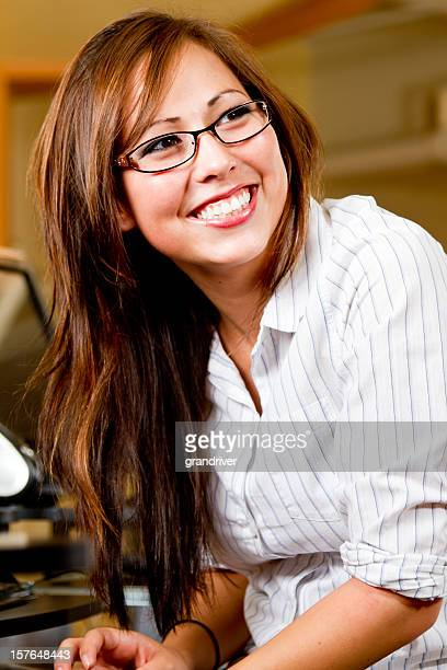 young woman wearing glasses - blackfoot stock pictures, royalty-free photos & images