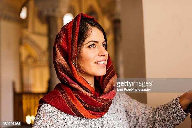 Young woman wearing headscarf, Istanbul, Turkey