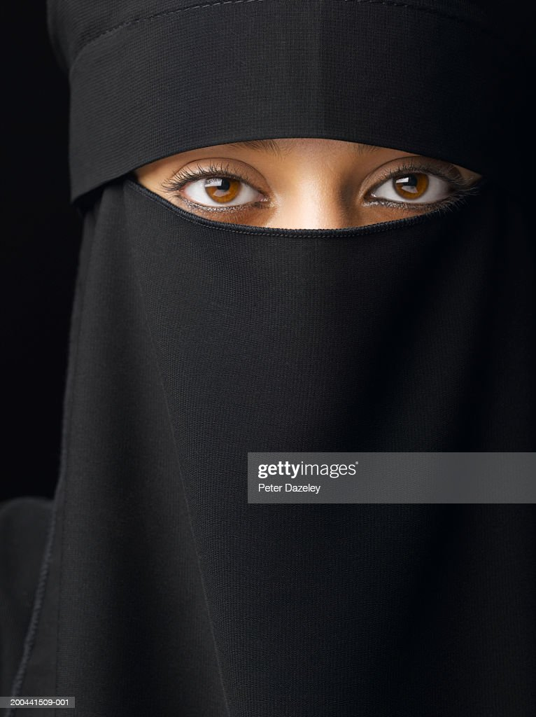Young woman wearing hijab, close-up, portrait : Stock Photo