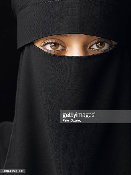 Young woman wearing hijab, close-up, portrait