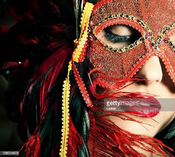 Young Woman Wearing Masquerade Mask