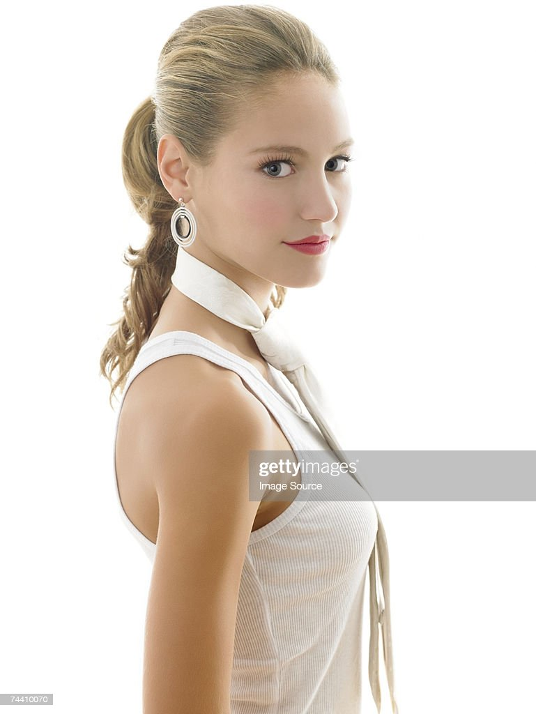 Young woman wearing necktie : Stock Photo