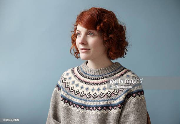Young woman wearing nordic jumper