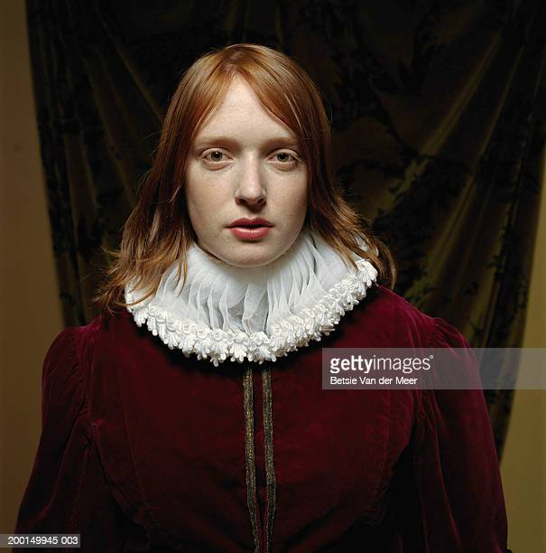 young woman wearing scholar outfit, portrait - elizabethan ruff stock photos and pictures