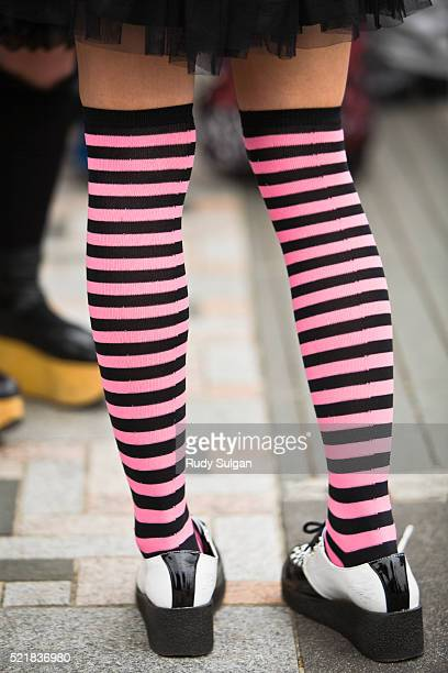 Young Woman Wearing Striped Socks