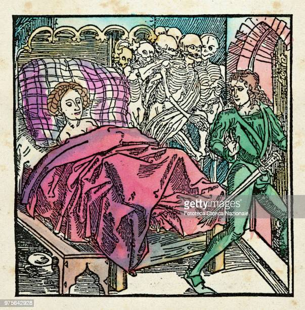 Young woman who represents the syphilis watch the young lover while leaving the bed Behind the skeletons of previous lovers dead Medieval allegorical...
