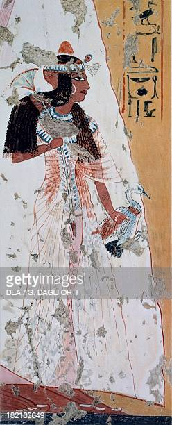 Young woman with a duck copy of a fresco from the Tomb of Ipouy Thebes dating back to the reign of Ramesses II plate from Ancient Egyptian Paintings...
