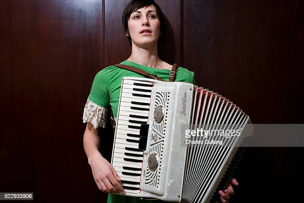 young woman with accordion - accordionist stock pictures, royalty-free photos & images