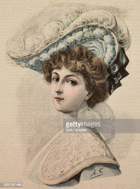 Young woman with an elegant hat in taffeta with ostrich feathers creation by Madame Pestour engraving from La Mode Illustree No 35 August 30 1903