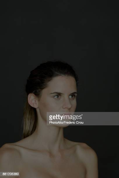 young woman with bare shoulders, portrait - clavicle stock photos and pictures
