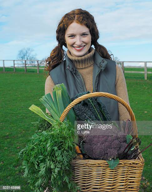 Young Woman with Basket of Organic Vegetables