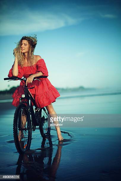 young woman with bicycle - hot model indonesia stock pictures, royalty-free photos & images