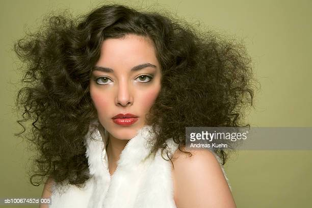 young woman with big hair, portrait - big hair stock photos and pictures