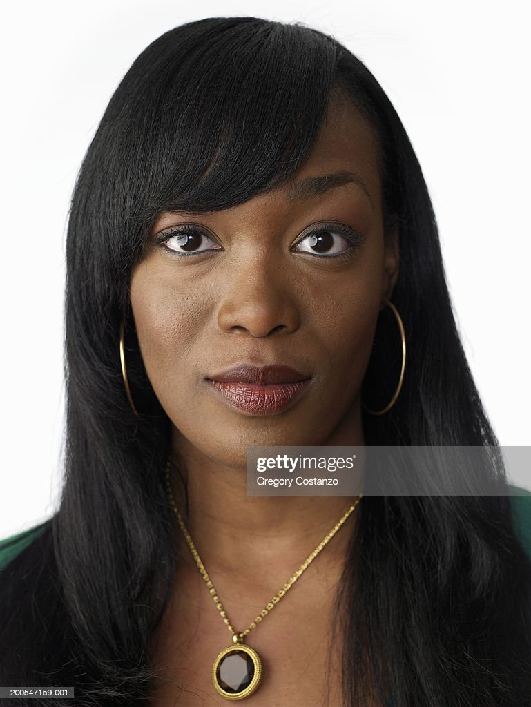 Young Woman With Black Hair Closeup Portrait High Res
