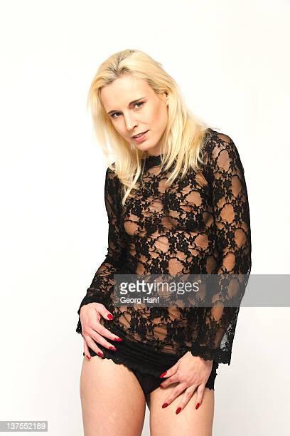 young woman with black lingerie - calcinha transparente - fotografias e filmes do acervo