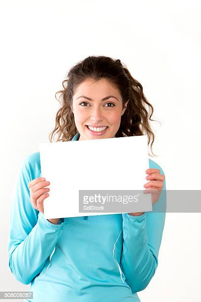 young woman with blank sign - blank sign stock photos and pictures