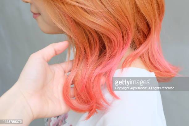 young woman with blond - pink gradation hair - pink hair stock pictures, royalty-free photos & images