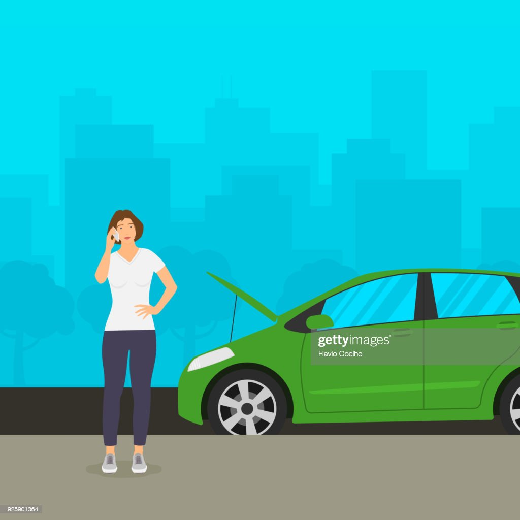 Young woman with broken down car phoning for assistance illustration : Stock Photo