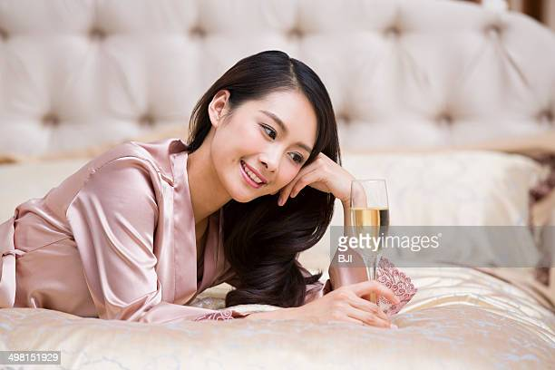 Young woman with champagne