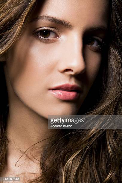 young woman with clean skin, close up. - dominican ethnicity stock photos and pictures