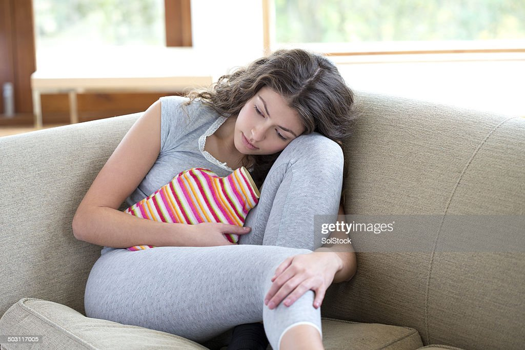 Young Woman With Cramps : Stock Photo