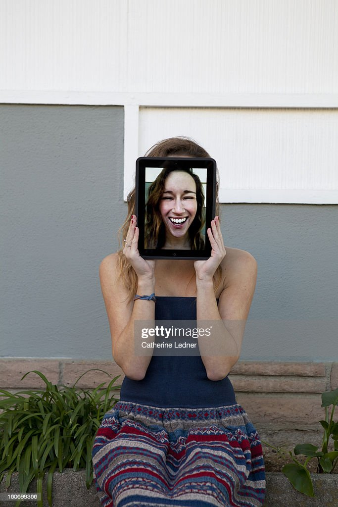 Young Woman with digital tablet : Stock Photo