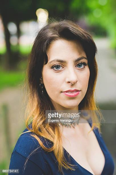 Young woman with dip dyed hair